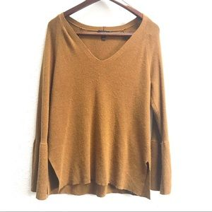 J. Crew Wool Blend Peplum Sleeve V-Neck Sweater XL